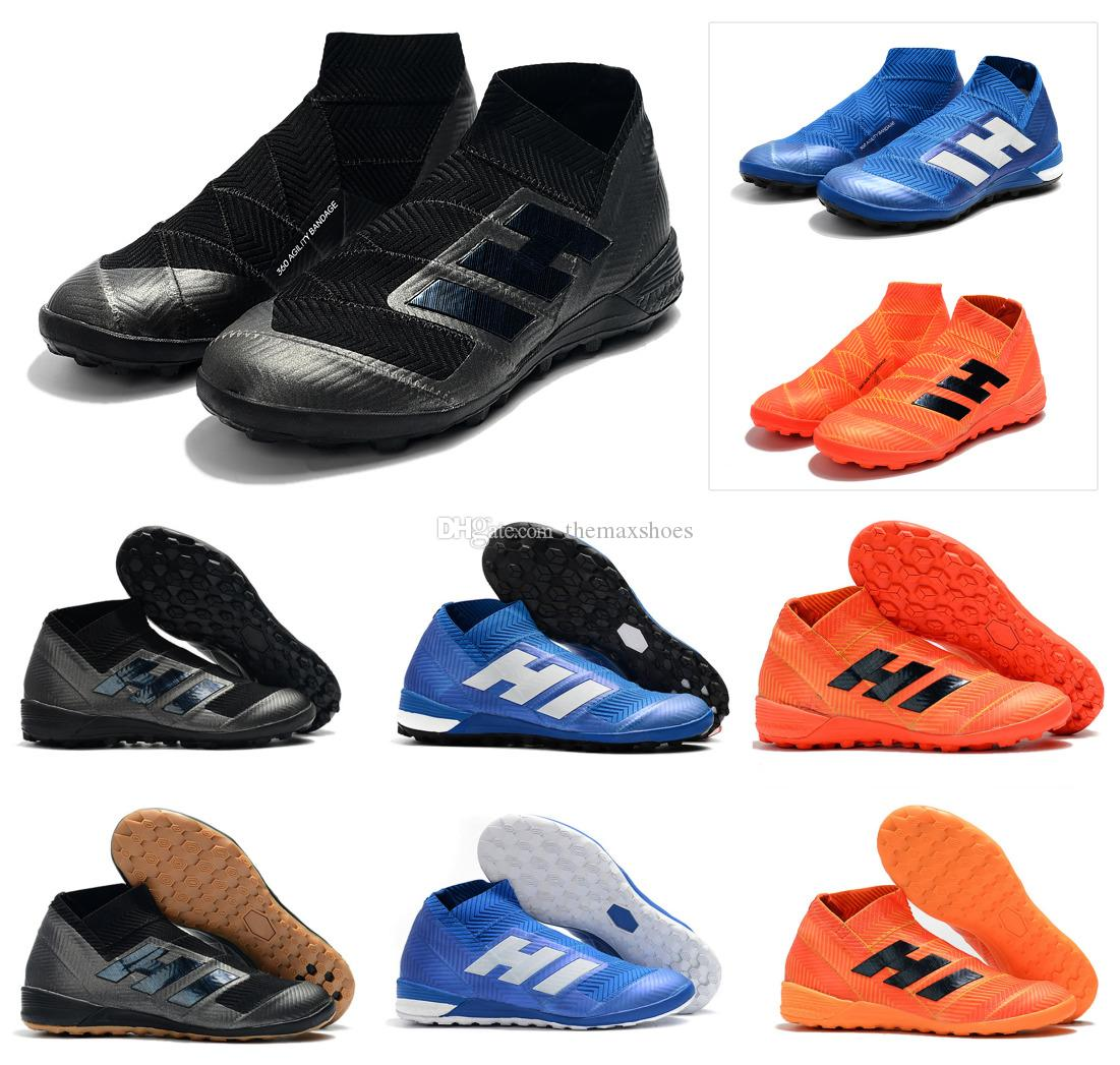 bd5fe5e81 Hot Nemeziz Tango 18+ Messi TF IC Turf Indoor Cleats High Ankle Slip-On 18+x  Mens Soccer Shoes Football Boots Cleats Size US 6.5-11