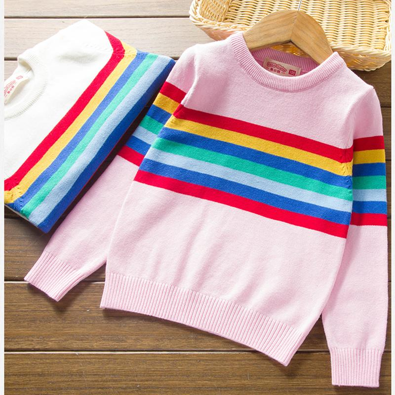 good quality Girls Boys Sweater Autumn Winter Rainbow Striped Cotton  Fashion Warm O-Neck Pullover Knitted Sweaters for 3- 7 Years