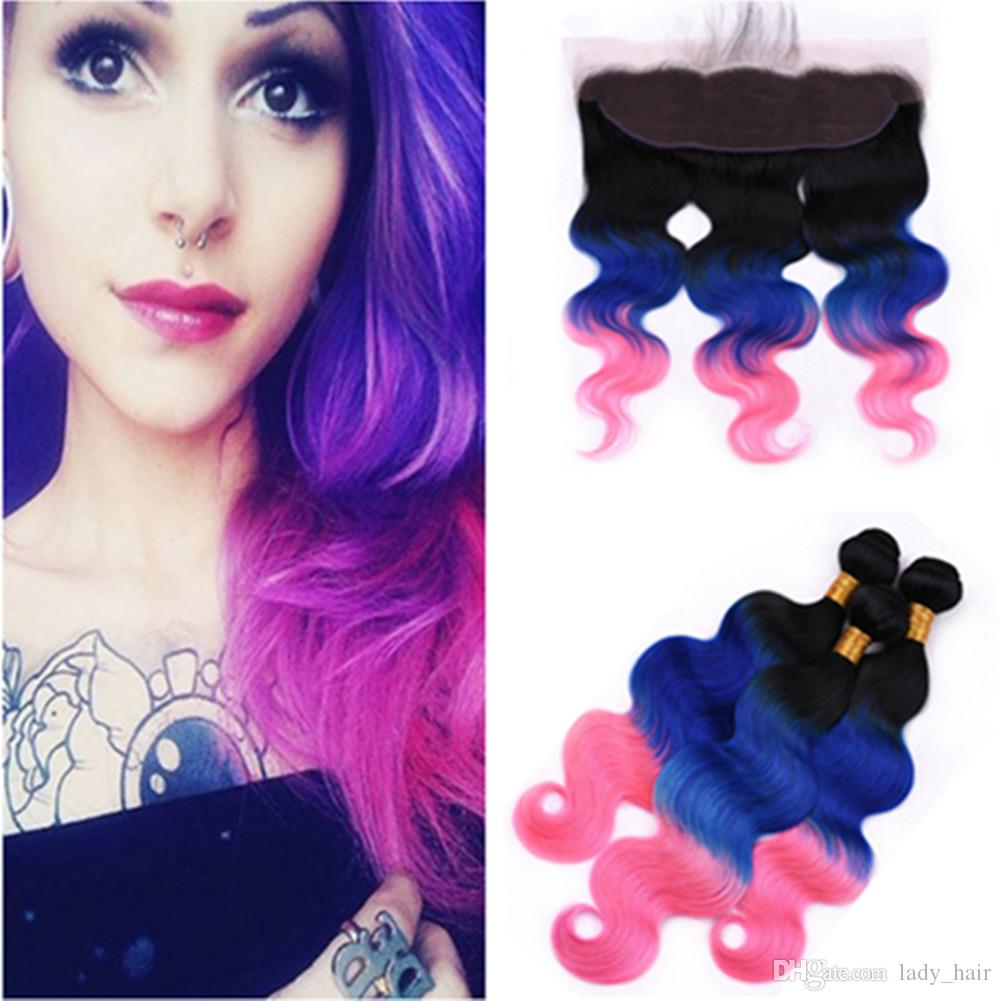 Learned Blue Hair 3 Bundles With Closure One Pack Dark Roots Two Tone Ombre Brazilian Body Wave Human Hair Weft With Lace Closure Human Hair Weaves