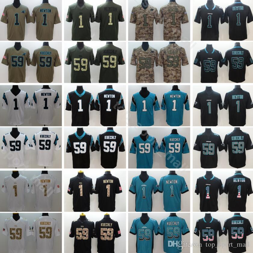 low priced 84adf 55125 Carolina Football Panthers 1 Cam Newton Jersey Men 59 Luke Kuechly Uniform  Vapor Untouchable Salute to Service Black Green White Camo