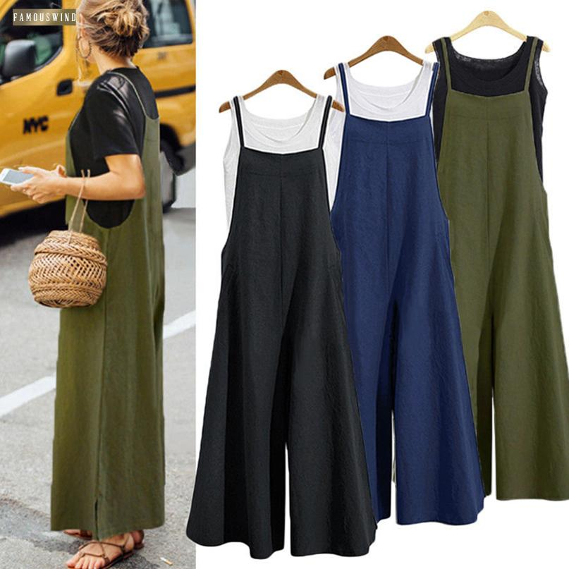 Romper Plus Size 2019 Women Cotton Linen Solid Pocket Long Wide Leg Strappy Dungaree Bib Jumpsuit Casual Loose Overalls Trousers