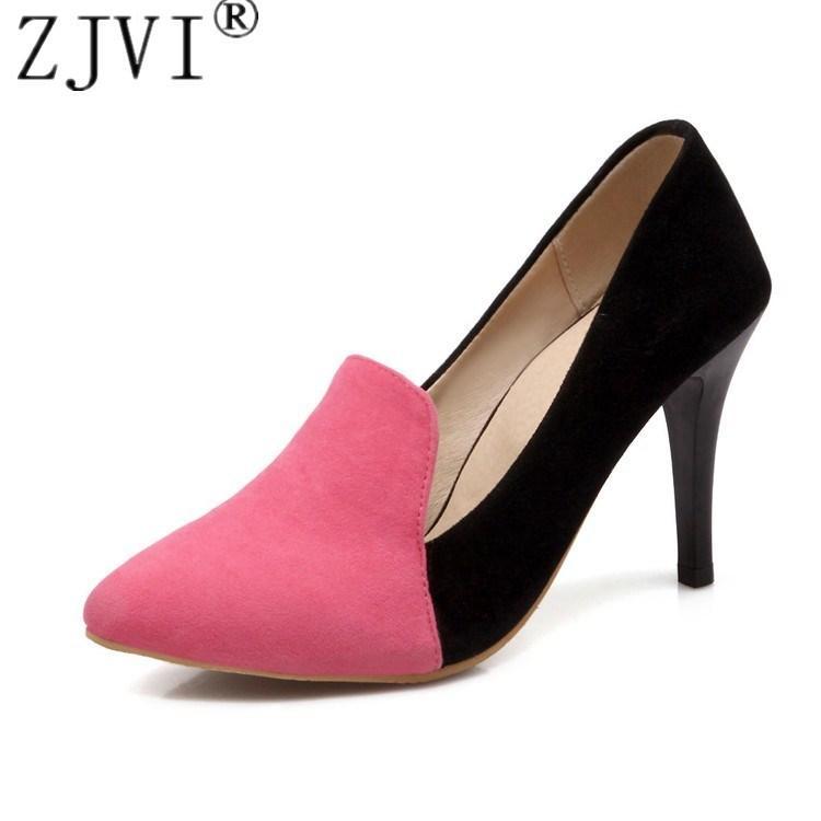 6e190c7ae Compre 2019 ZJVI Vestido De Moda Nubuck Fina Bombas De Salto Alto Mulher  Apontou Toe Sapatos Das Mulheres Cores Misturadas Outono Verão Sapatos De  Senhoras ...