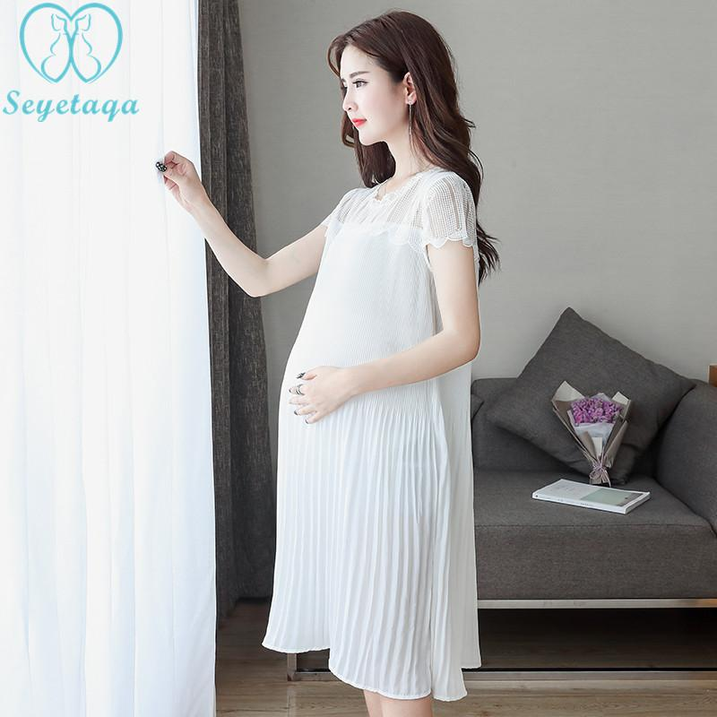 a82cb967ff7df 2019 2216# Hollow Out Lace Patchwork Pleated Chiffon Maternity Dress  Elegant Summer Fashion Clothes For Pregnant Women Pregnancy Wear From  Jasmineer, ...