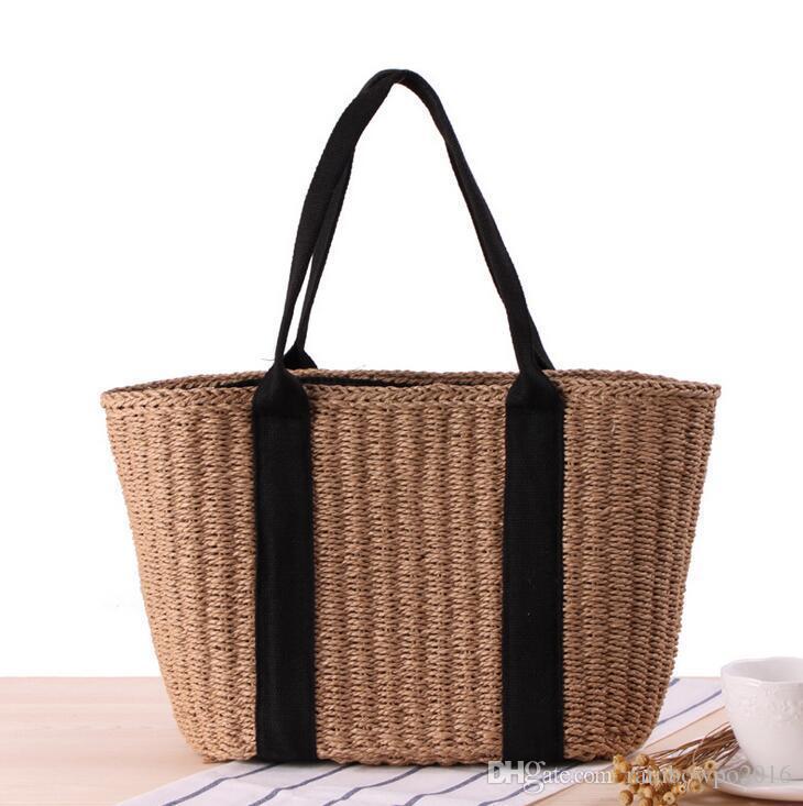 Factory Wholesale Brand Bag Summer Japanese Minimalist Style Straw Handbag  All Match Commuter Women Beach Bag Bulk Leisure Straw Beach Bag Cheap  Designer ... e664b8c64f6d2