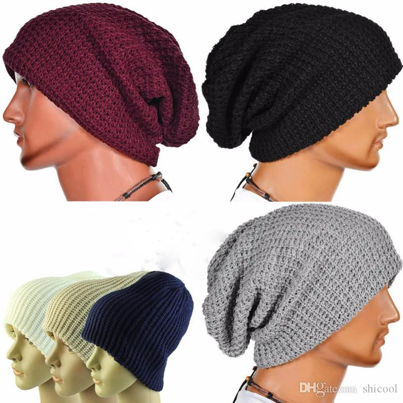 81df37946ef New Arrival Winter Men Keep Warm Knit Winter Hat Double Sided Beanie Skull  Chunky Baggy Warm Cap Ear Protection Cap Stetson Hats Trilby From Shicool