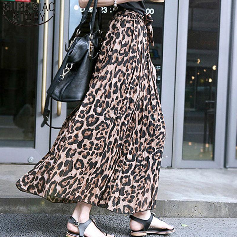0c130cd3a3de30 2019 Casual Maxi Skirt Summer Women Long Leopard Print Skirt Elastic Dress  Chiffon Dress High Waist Chiffon Pleated Slim Fit 3562 50 From Haitan, ...