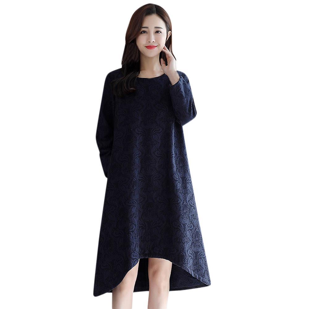 ea7ca72e10f Fashion Women Warm Paisley Elegant Party Dress Long Sleeve Casual ...