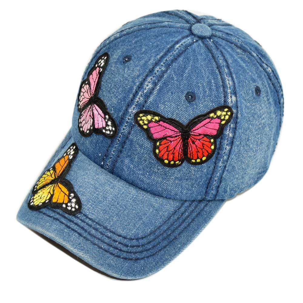 bad5fdb939820 Ladies Caps Butterfly Patch Washed Denim Baseball Cap Outdoor Peaked ...