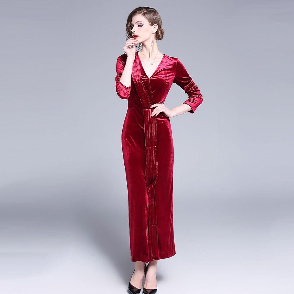 600ab61ed248 Acquista Vestito Da Autunno Inverno Rosso Tinta Unita Donna 2019 Casual  Vintage Ball Gown Velluto Dress Tie Split Sexy Long Party Dress Vestidos A   36.49 ...