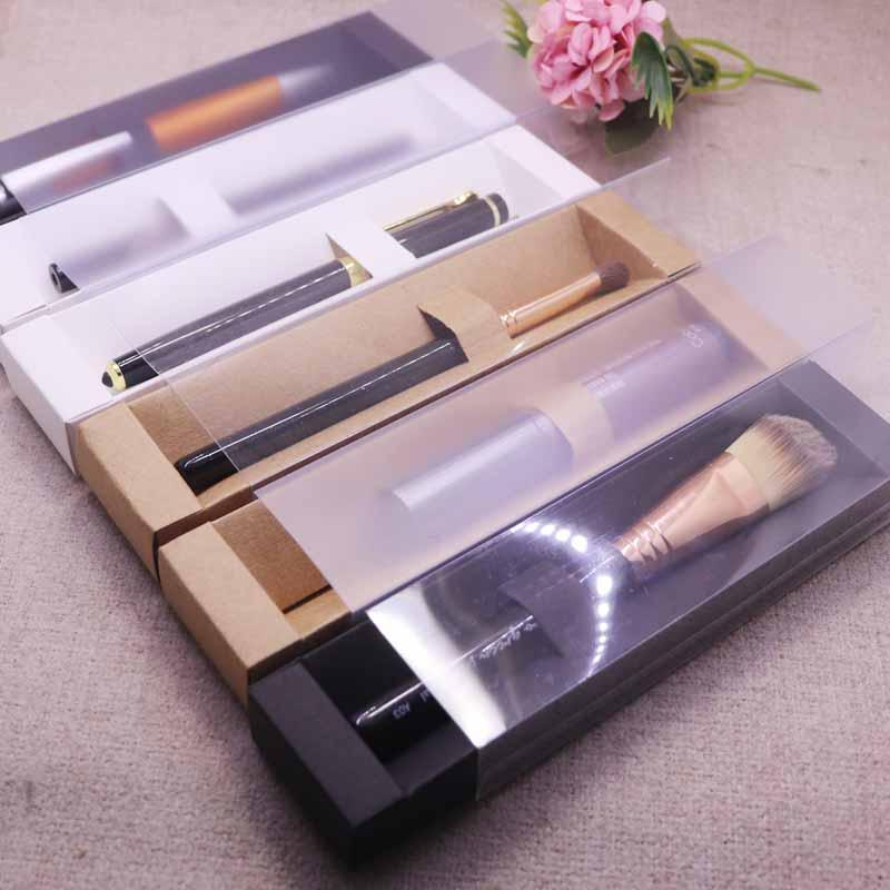 New Vintage kraft Frosted cover slide Eyebrow Box Clear Window Pen Box white Lip Sticker black Cosmetic single package