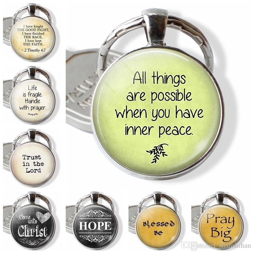2019 new fashion charm pendant keychain \All Things Are Possible When You Have Inner Peace\ Quote Keychain, Inner Peace Pendant, Faith Jewel