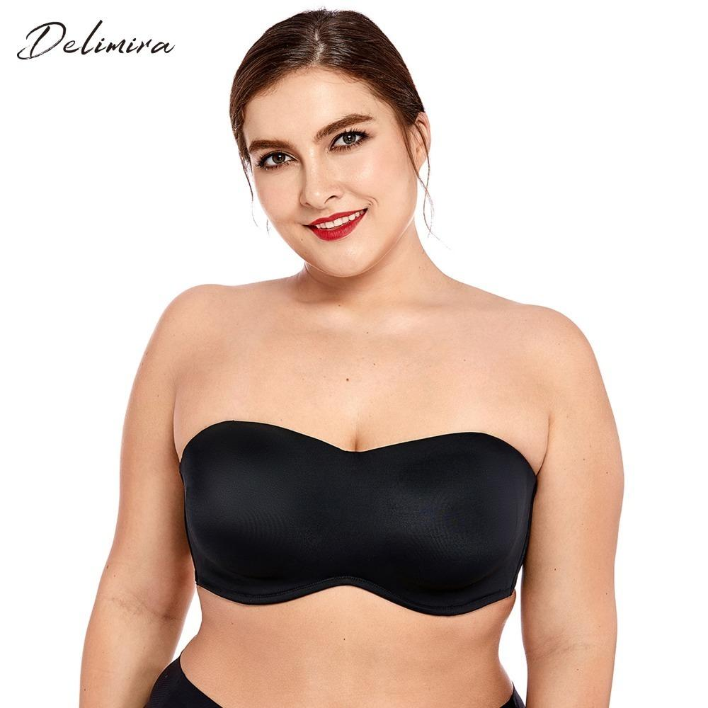 49b0630a22f5dc 2019 Delimira Women S Full Coverage Smooth Seamless Invisible Underwire  Minimizer Strapless Bra Plus Size C19040401 From Lizhang03
