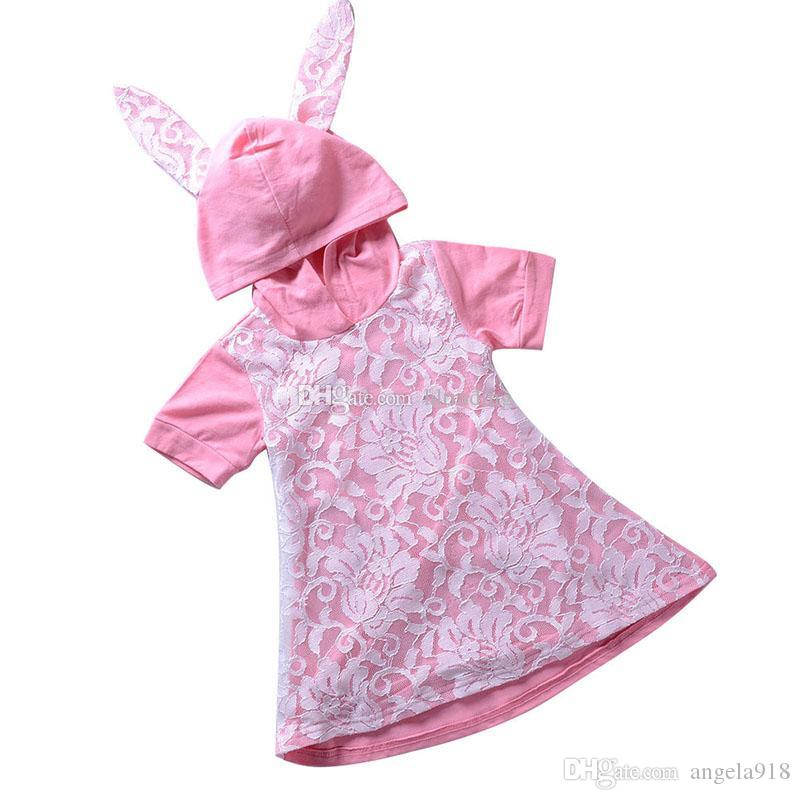 fdd98776aac Baby Girls Easter Rabbit Ears Dress Children Bunny Hooded Lace Princess Dresses  2019 Summer Fashion Boutique Kids Clothing C5954 Baby Girls Clothes Baby ...