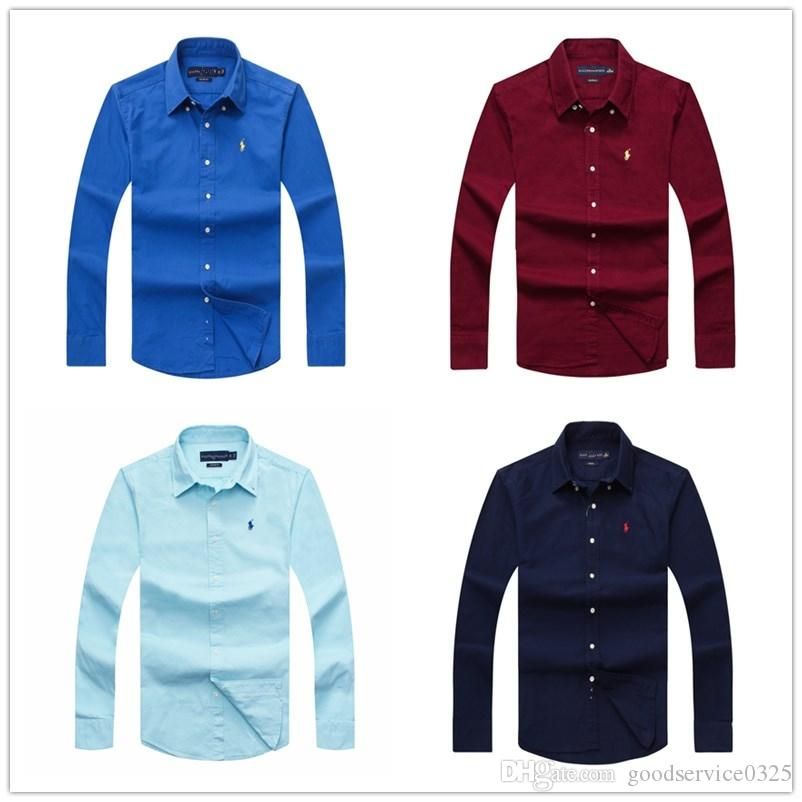 50eda70e71 Camicia da uomo di affari degli uomini di marca degli uomini di marca 2019  a maniche lunghe versione tinta unita camisa masculina camicia maschile ...
