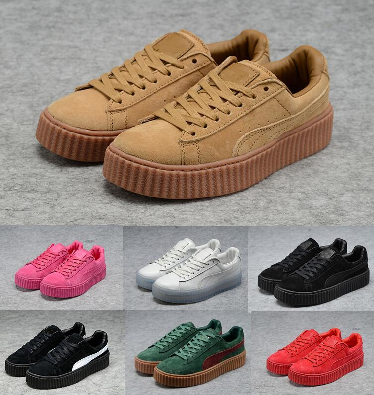 size 40 9844d 0b864 2019 new X RIHANNA SUEDE CREEPER Rihanna Red Black Grey With Zapatos  Sneakers Running Shoes Trainers outdoor shoes SIZE 36-44