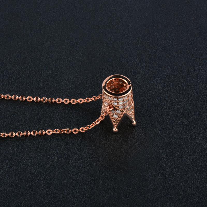 Dazzling zircônia cúbica embutimento coroa pingente de colar Rose Gold Silver Cor Choker Cadeia Colares XL473 SSC