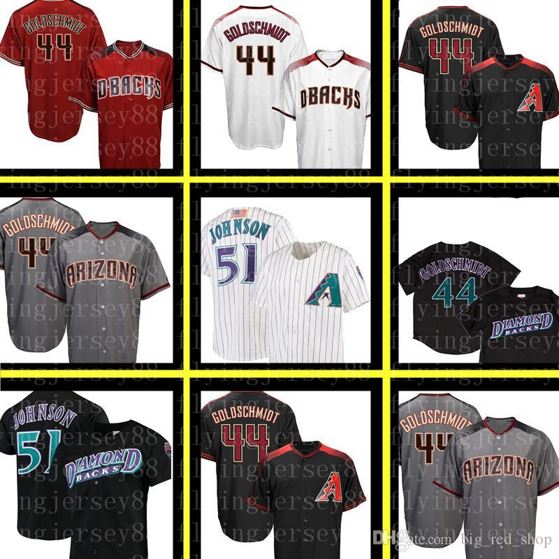 free shipping 0ef28 2ebe8 44 Paul Goldschmidt Diamondbacks Jersey Men 51 Randy Johnson Embroidery  Baseball Jerseys Cheap wholesale M-XXXL