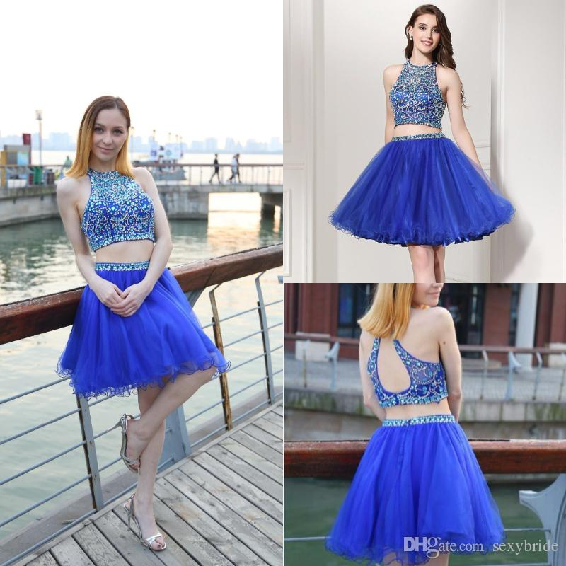 2f5d408df63 Two Pieces Royal Blue Homecoming Dresses Short 2018 Jewel Crystal Beaded  Sexy Sleeveless Cheap A Line Cocktail Party Dresses Prom Gowns Cheap Long  ...