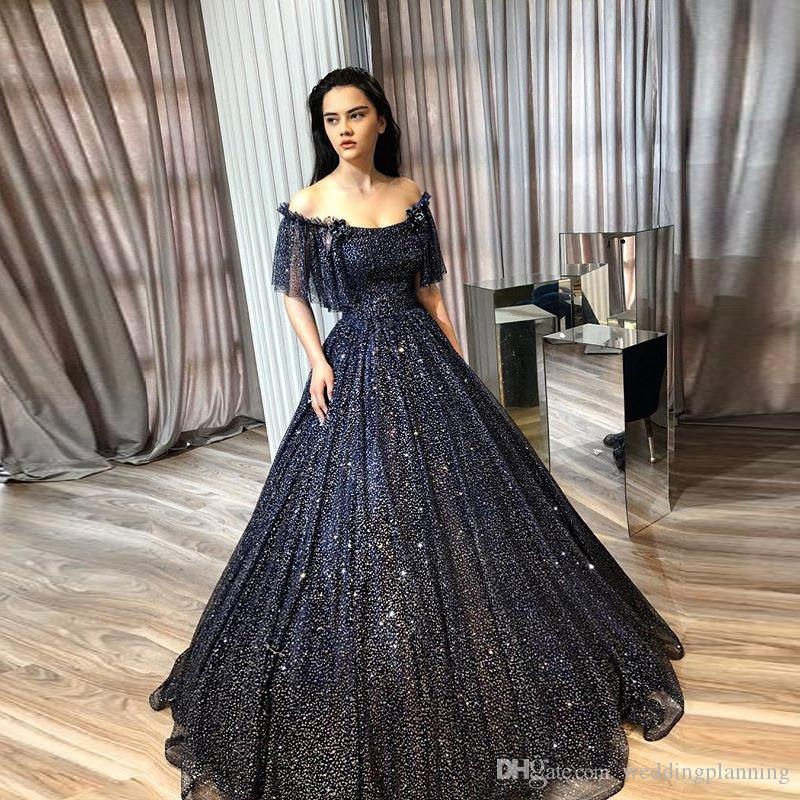e7fb3fa9db Spark Shining Black Sequins Prom Dresses Off The Shoulder Ruffle Formal  Evening Gown Zipper Back Floor Length Special Occasion Dresses Sequined  Prom Dresses ...
