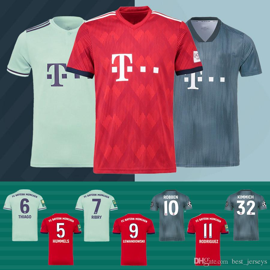 the best attitude 095c3 0e808 Size S-3XL Bayern Munchen Jersey 18 19 Men LEWANDOWSKI ROBBEN JAMES MULLER  HUMMELS Bayern Munich Football Shirt Red Green Bayern Jersey Tops