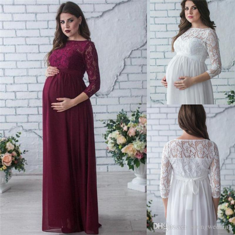 Elegant Lace Chiffon Pregnant Dress Modest Long Sleeves Maternity Gowns Women Summer Pregnancy Dress Long MC1745