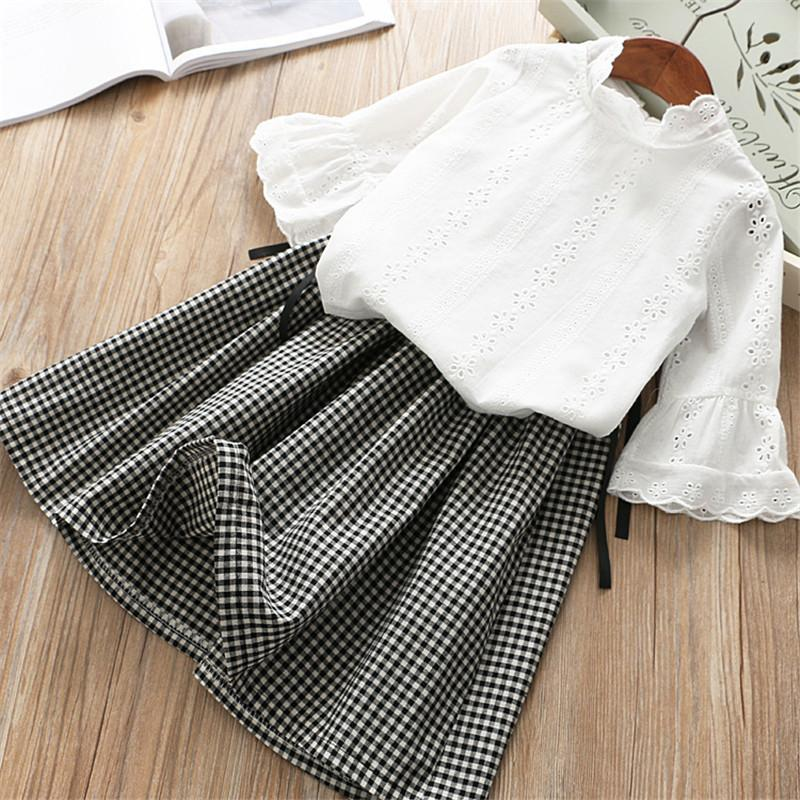 0-6 years girl clothing set 2019 spring new fashion casual solid plaid full sleeves kid children clothing shirt+skirt 2pcs