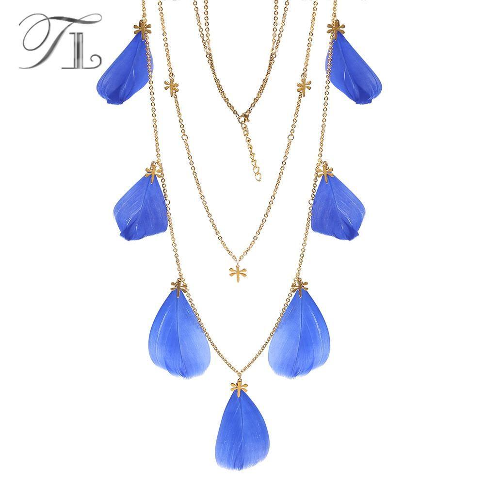 1a31fc5d2462 Compre TL Hecho A Mano Bohemio Azul Pluma Colgante Collares Boho  Declaración Borla Colgante Collar De Cadena Larga Accesorios Mujeres  Collares A  32.81 Del ...