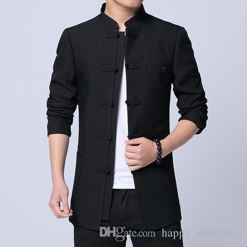 9a5e08b87138c3 Großhandel Chinesischen Stil Kleidung 2019 Frühjahr Neue Mode Klassische  Tang Anzug Jacke Männer Baumwolle Bequeme Stoff Herren Jacken Und Mäntel  Von ...
