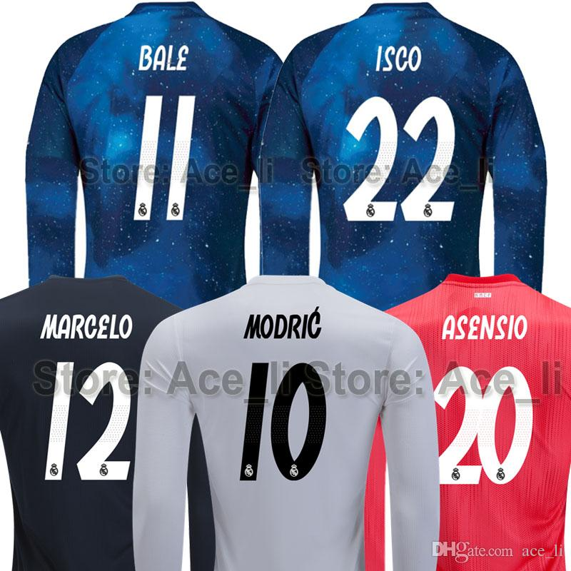 2019 Real Madrid Long Sleeve Soccer Jersey 18 19 EA Sports ASENSIO MODRIC  BALE SERGIO RAMOS ISCO MARCELO Galaxy Thailand Champions Football Shirt From  ... 7370a1dcd