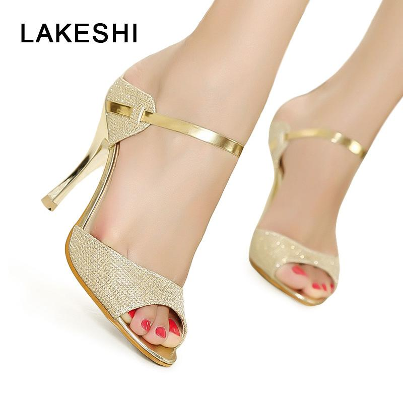 Ferse High Heel Dünne Silber Toe Hochzeit 41 Frauen Pumps Schuhe Gold Sandalen Peep Weibliche Damen Fersen L3R5jA4