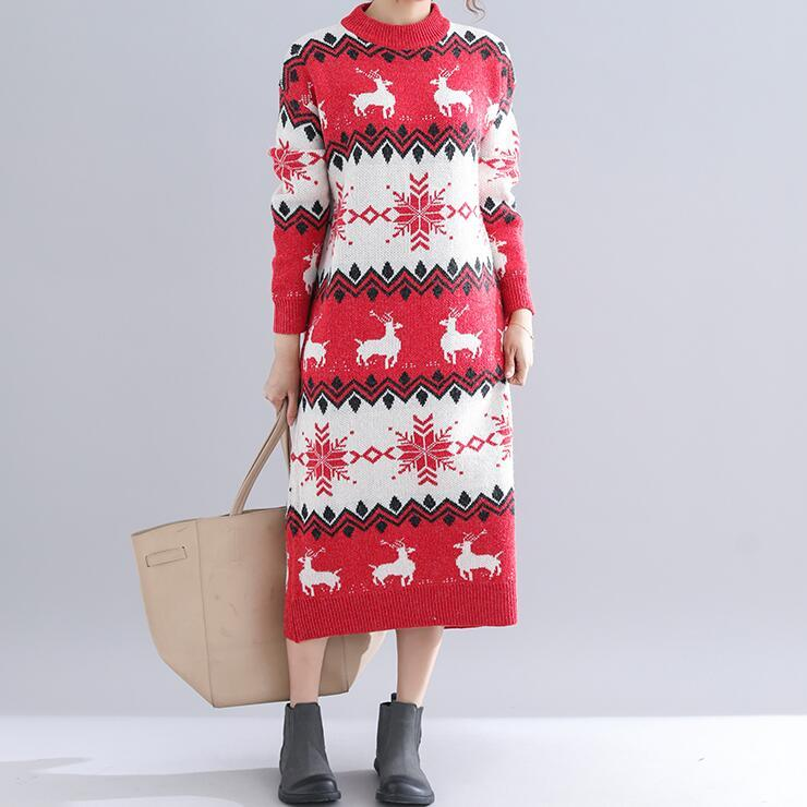 c831c0a5788a Lady Christmas Sweater Dress New Fashion Women Long Sleeved Autumn And  Winter Reindeer Pattern Thickening Knitted Dresses Red Cocktail Dresses For  Ladies ...
