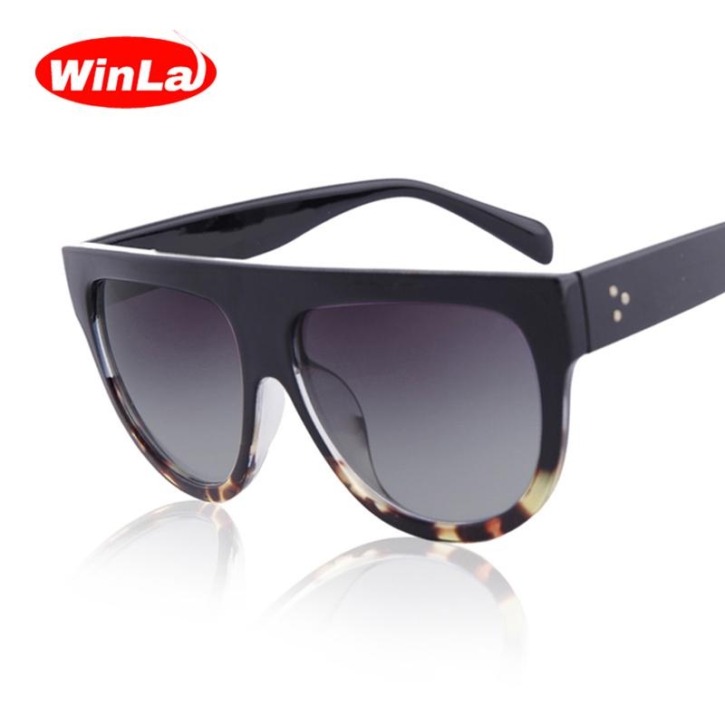 84bf7d98730 Winla Fashion Sunglasses Women Flat Top Style Brand Design Vintage ...