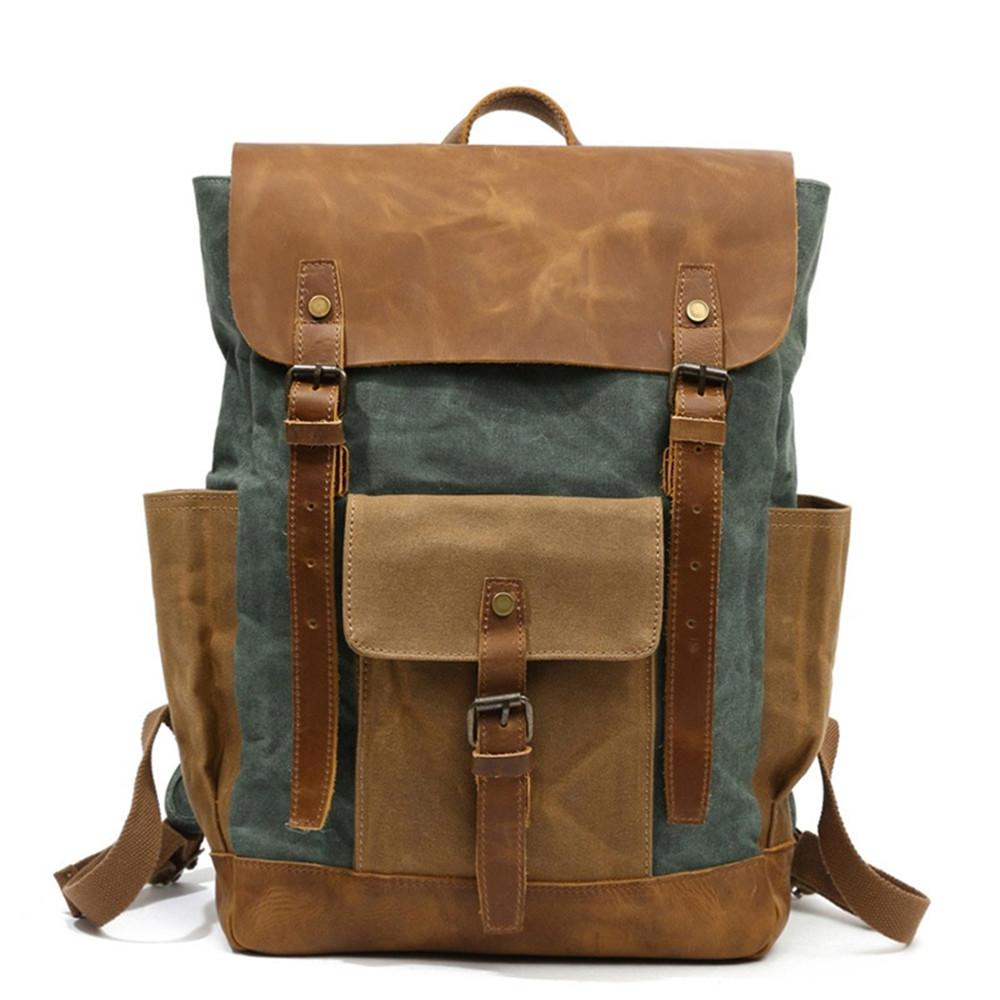 e9abfbc04 Mens Canvas Leather Backpack Vintage Waterproof Laptop Daypacks Large  Capacity Students School Bags Big Rucksack Retro Swiss Backpack Laptop  Rucksack From ...