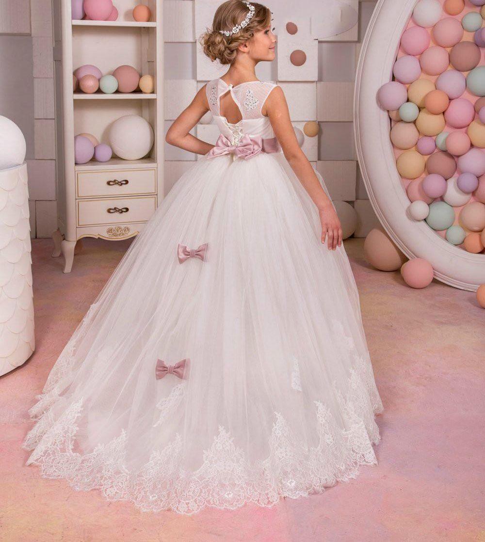 5d6bca5f8c91c3 White Ivory Flower Girl Dress Junior Bridesmaid Holiday Birthday ...