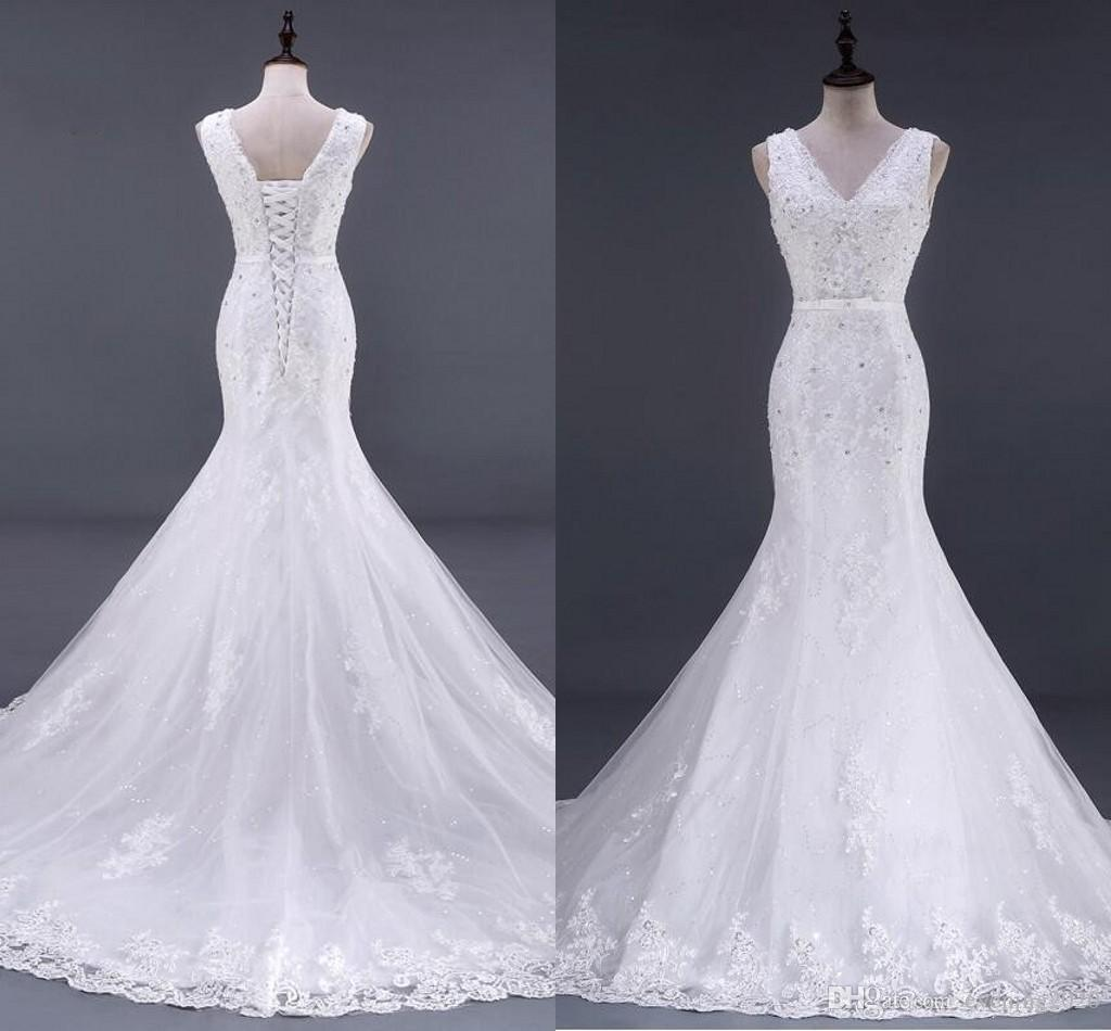 Elegant Mermaid Wedding Dresses V Neck Lace Appliques Sequins Lace Up Sweep Train Wedding Gowns Custom Made