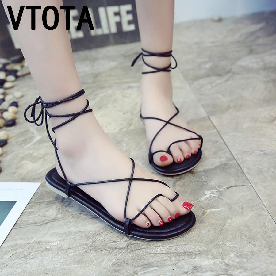 3f6b1a1840422 VTOTA Summer Roman Sandals Multiple Cross-Strap Flat Sandals Shoes Lace Up  Women Beach Shoes Chaussure Femme Sandalias Women s Sandals Cheap Women s  Sandals ...