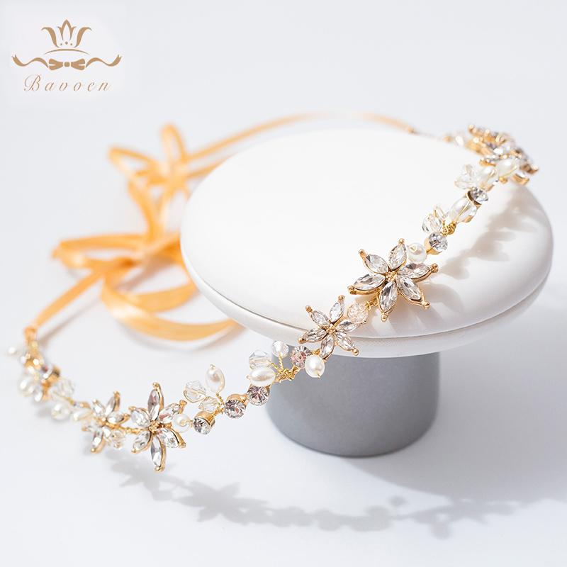 Elegantes Zirconia Brillante Crystal Headbands Gold Wedding Headpieces Accesorios para el cabello por la noche T190628
