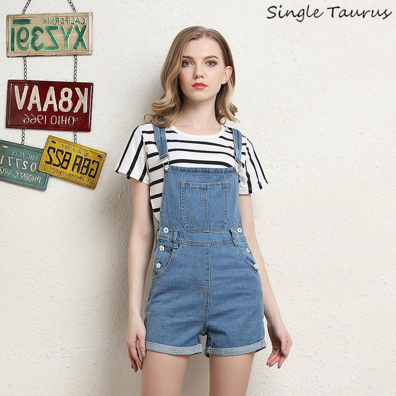 2019 Summer Denim Playsuits Women Fashion Jeans Shorts Overall Little Blue  Leisure Preppy Style Women Rompers 45,75 Kg 4XL