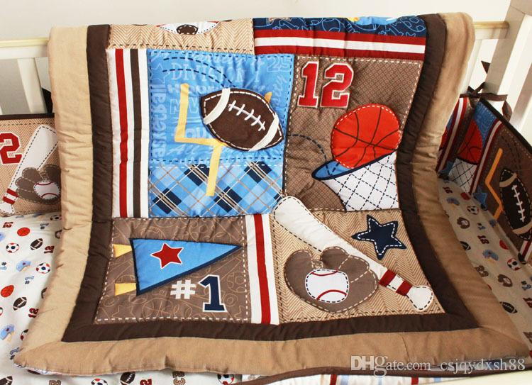Crib Quilt Bumper Baby bedding set 7Pcs Cotton Cot bedding set Applique Embroidery 3D leaves basketball sport Mother love