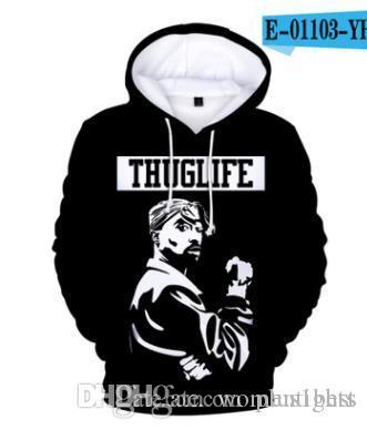 2PAC Rapper Men Hoodies 3D Spring Autumn Fashion Hooded 3D Printed Harajuku Sweatshirts