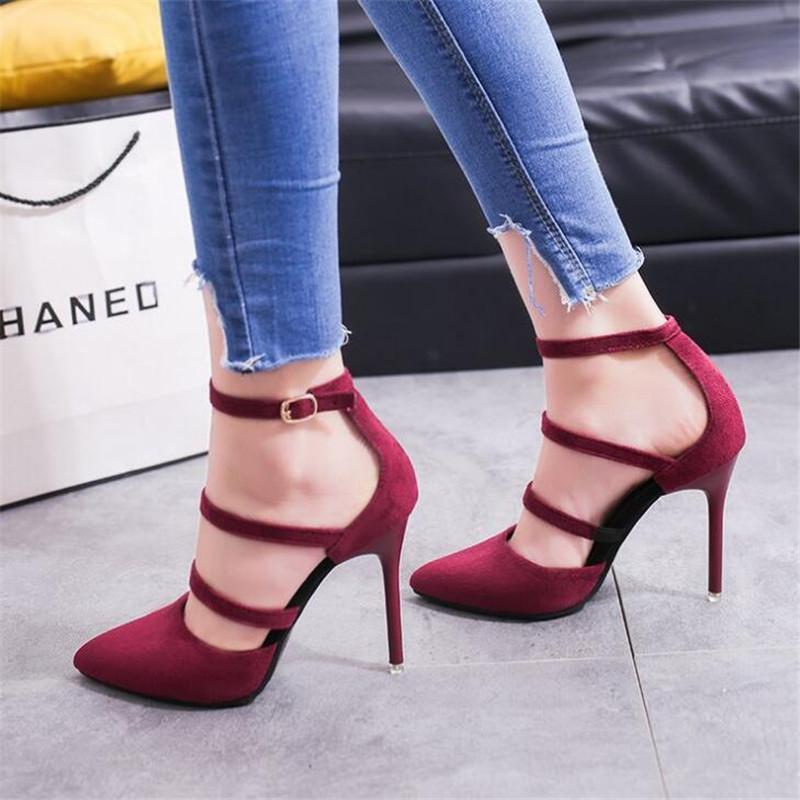 531d3494 Compre Zapatos De Vestir 2019 Primavera Nuevas Mujeres Moda Europea Y  Americana Sexy Tacones Altos Ante Gamuza Trabajo Hueco Simple Sencillo A  $30.16 Del ...