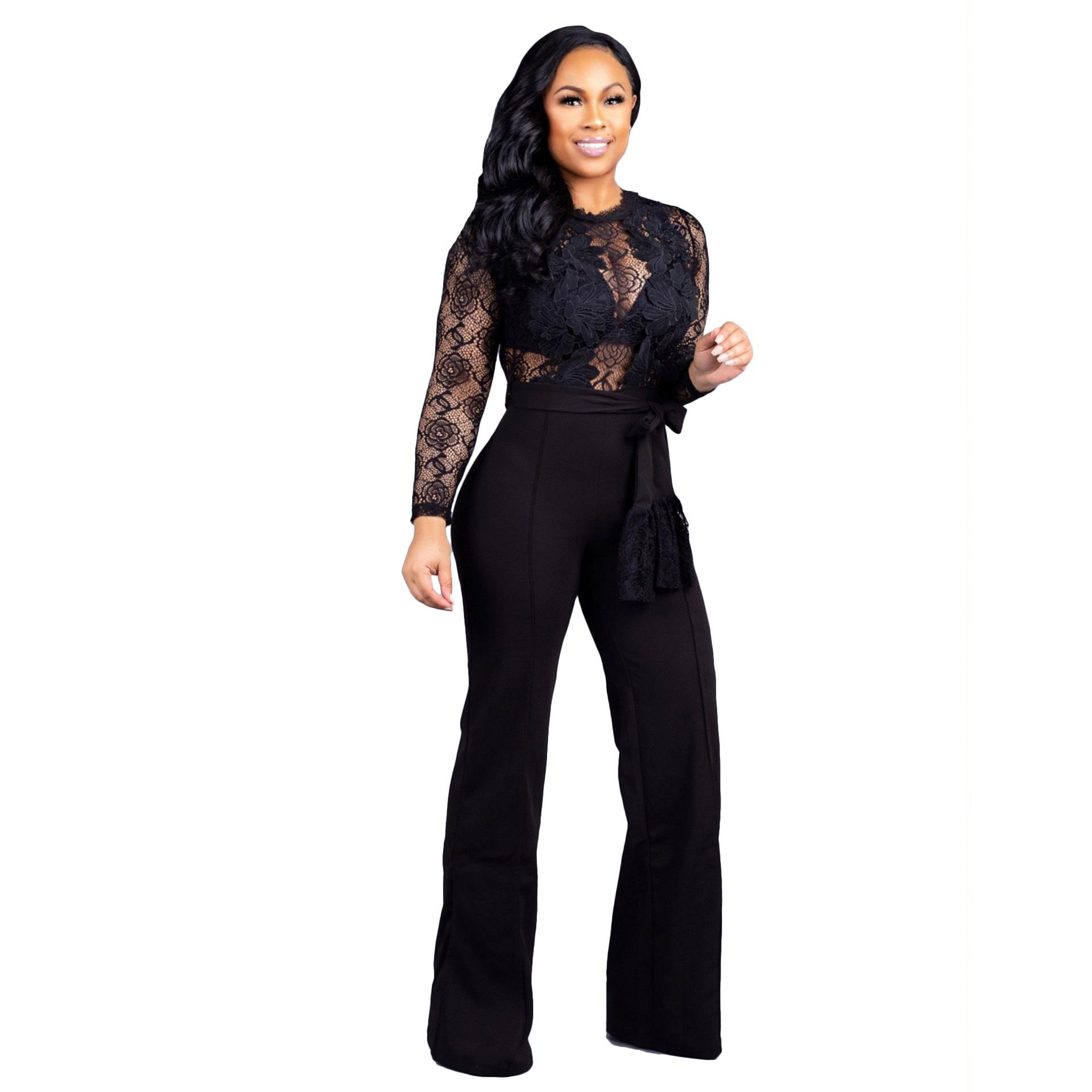 Women Sheer Lace Jumpsuits Rompers High Waist With Belt O Neck Long Sleeve Night Club Wide Leg Pants Overalls Playsuits