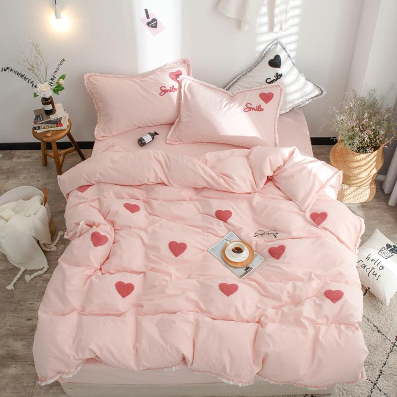 Bedding Rabbits Embroidery And Print Bedlinens Washed Cotton Twin Queen King Size Bedding Sets Pillowcases Duvet Cover Set