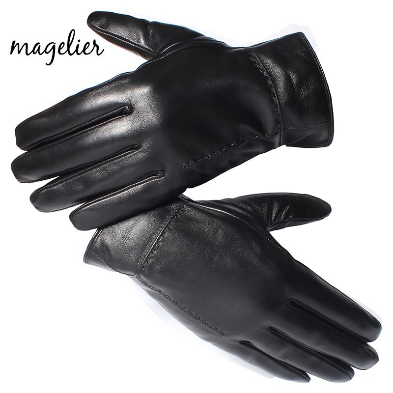 aa319987f6c10 2019 Magelier Genuine Leather Gloves For Men Real Sheepskin Black Finger  Gloves Winter Warm Fashion Brand Mittens New Arrival 052 From Xiamenwatch,  ...