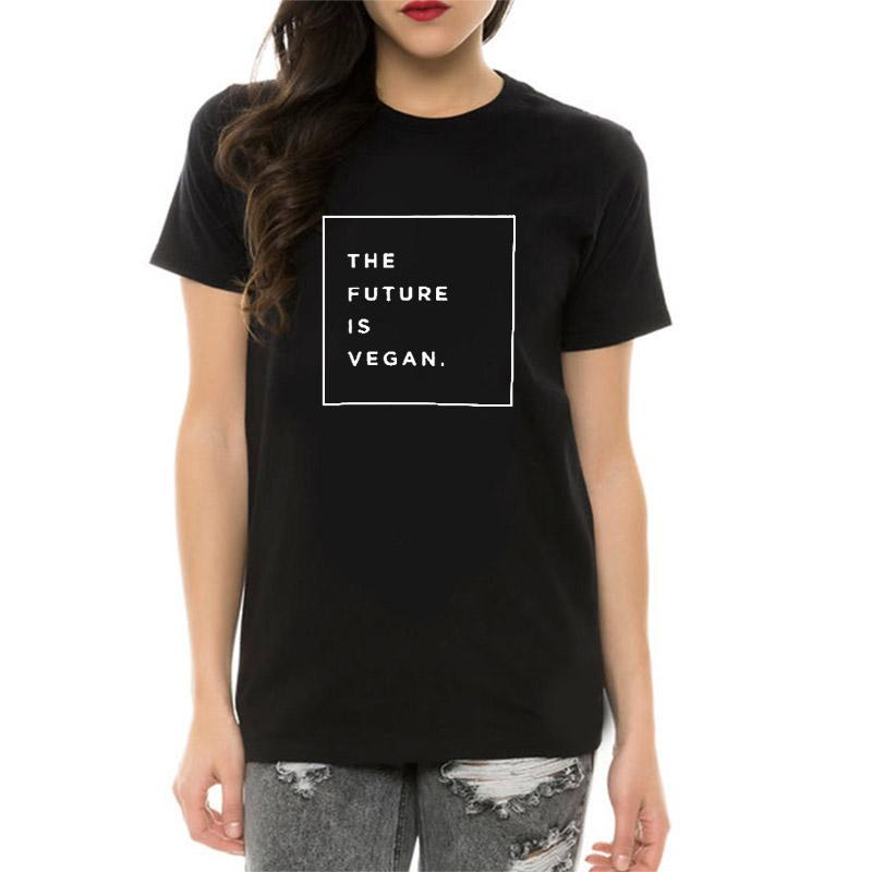 816e3404c 100% Cotton T Shirt Women Print The Future Is Vegan T Shirt Short Sleeve O  Neck Summer Tops Plus Size Women Tshirt Hipster Cheap T Shirts Long Sleeve T  ...