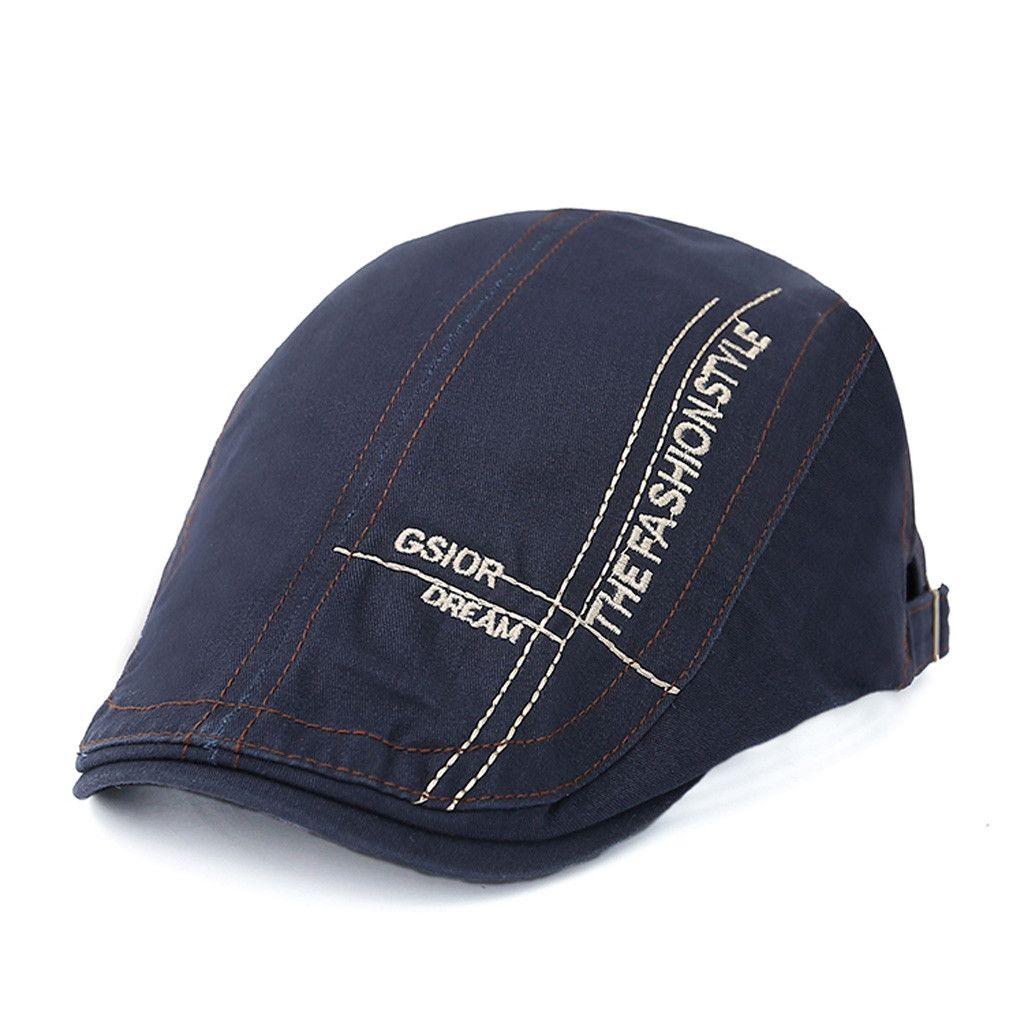 bed74570b5c59 2019 HT1329 2017 Autumn Winter Men Cap Hats Berets British Western Style  Wool Advanced Flat Ivy Cap Classic Vintage Striped Beret From Hongshaor
