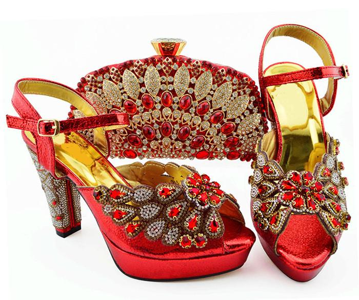 Wonderful red women pumps with big crystal and beads for dress african shoes match handbag set QSL008,heel 11.5CM