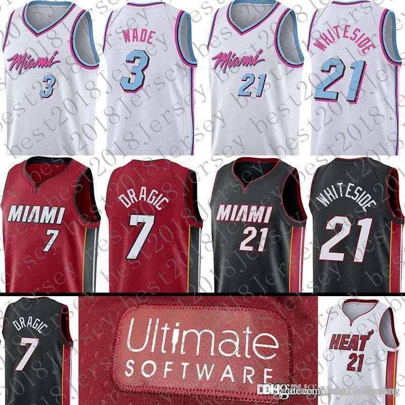 ad0432b7824 2018 2018 New Top Quality 3 Dwyane Wade Miami Jersey Heat 7 Goran Dragic 21  Hassan Whiteside Basketball Jerseys From Best2018jersey