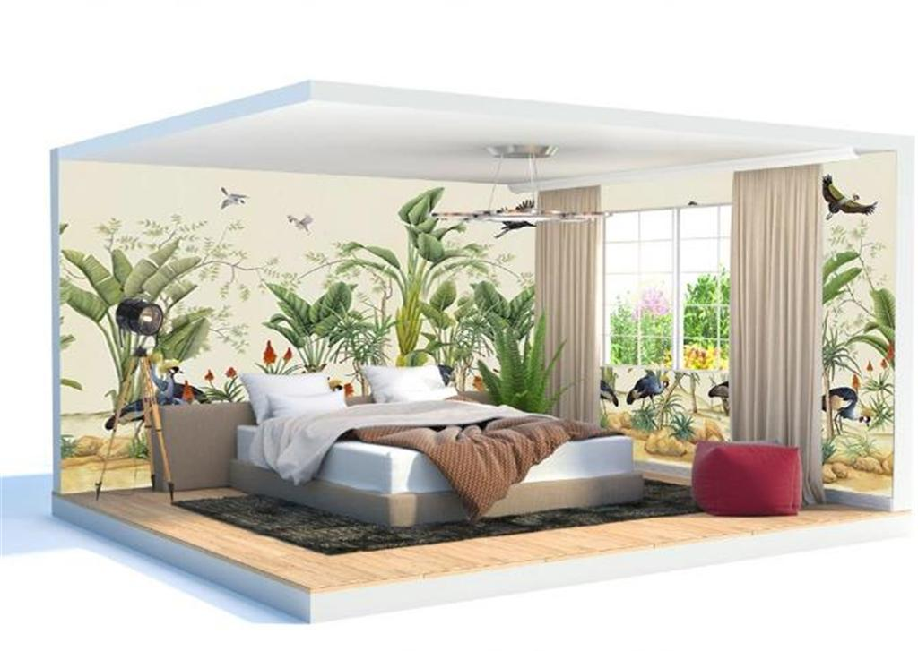 Photo 3d Wallpaper Tropical Plants Flowers and Birds Whole House Background Wall Decoration Fresh Natural 3d Wall paper