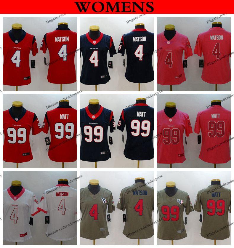 3fa9bfc6 Womens Houston Ladies Texans 4 Deshaun Watson 99 J.J. Watt Girls Football  Jerseys Pink Stitched Shirts S-XXL